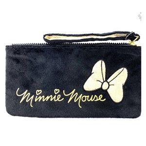 Minnie Mouse Disney Clutch Purse Black Gold Strap